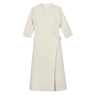 button wrap dress ivory